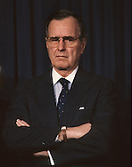 A stern H W Bush during a Chanukah Ceremony during the administration of H.W. Bush (Bush 41)..Photograph by Dennis Brack, BB 29
