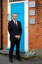 © Licensed to London News Pictures. 08/04/2013. London, UK Mike Freer MP poses outside the conservative offices of former Prime Minister Margaret Thatcher's in Finchley, London, the day after she died from a stroke aged 87. Photo credit : Clare O Hagan/LNP