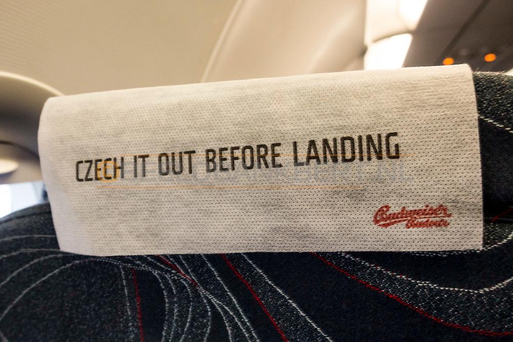 17-09-2015 -  Foto van Reclame Budweiser in het toestel van CzechAirlines tijdens de Persreis naar Tsjechië.