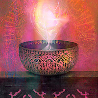 """Ancient metal bowl from India inscribed with spiritual symbolism and filled with light energy.<br /> ;;;;;;;;;;;;;;;;;;;;;;;;;;;;;;;;;;;;;;;;;;;;;;;;;;;;;;;;;;;;;;;;;;;;;;<br /> <br /> ...""""know you're enough"""" answers yoga's core question, Who am I?<br /> <br /> -Colleen Saidman Yee<br /> Yoga For Life<br /> pg 222<br /> <br /> http://colleensaidmanyee.com<br /> <br /> Simon And Schuster<br /> ISBN 978-1-4767-7678-1<br /> <br /> +++++++++++++++++++<br /> <br /> The New York Times christened Colleen """"The First Lady of Yoga,"""" in their recent profile of her on the front page of the Sunday Style section. She has also been featured in Vanity Fair, New York magazine, Oprah, Marie-Claire, Allure, and Yoga Journal. Before that she had a varied career: She was a cover girl, a student of shiatsu, and she lived in Calcutta, working with Mother Theresa at the Home for the Dying and Destitute.<br /> <br /> More recently, together with Rodney, Colleen helped to create Urban Zen's Integrative Yoga Therapist Program, Donna Karan's worldwide initiative. She and Rodney are also authors of the Gaiam Yoga Studio, as well as several popular yoga DVDs."""