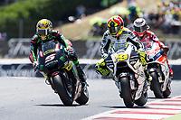 Johann Zarco of France and Monster Yamaha Tech 3 Team and Alvaro Bautista of Spain and PullandBear Aspar Team during the race of  MotoGP of Catalunya at Circuit de Catalunya on June 11, 2017 in Montmelo, Spain.(ALTERPHOTOS/Rodrigo Jimenez)