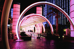 United States, Nevada, Las Vegas, neon lights of hotel entrance