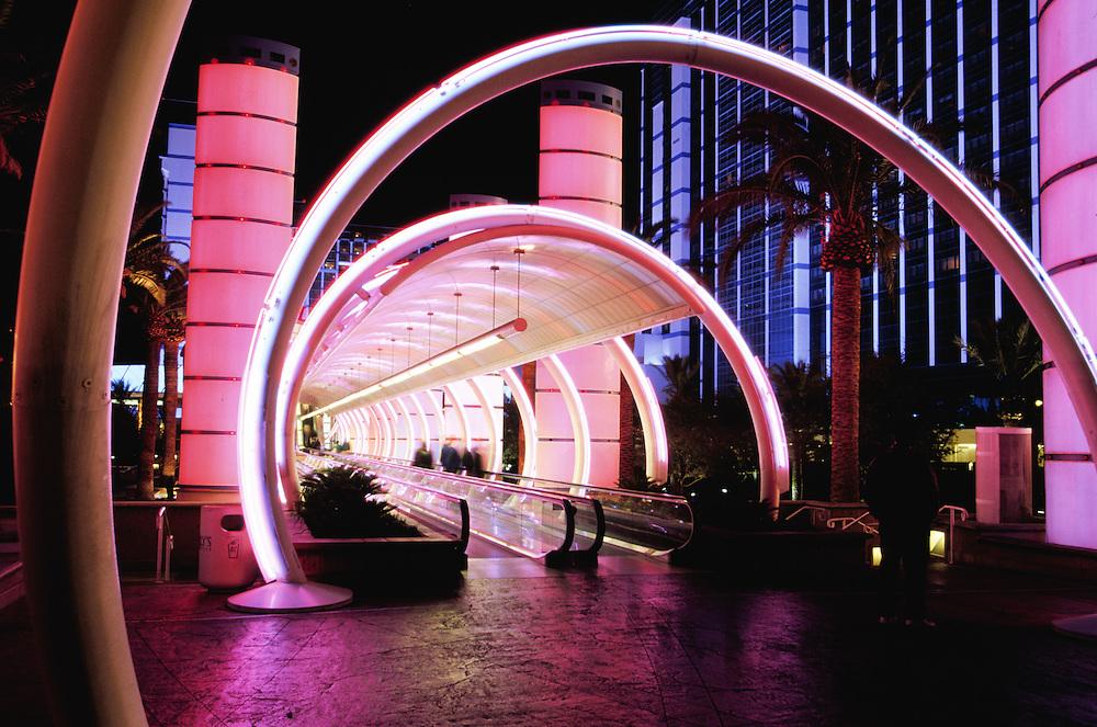 United States, Nevada, Las Vegas, neon lights of hotel entrance