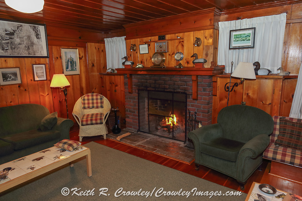 Interior of historic duck camp on the Delta Marsh in Manitoba, Canada