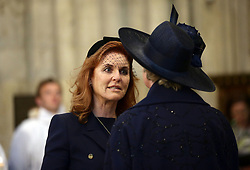 Sarah, Duchess of York and Penelope Keith (right) in Westminister Abbey, London ahead of Service of Thanksgiving for the Life and Work of the Ronnie Corbett who died last year.