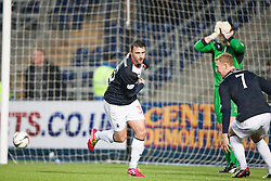 Falkirk's Mark Millar cele scoring the goal from the penalty spot.<br /> Falkirk 1 v 1 Morton, Scottish Championship game today at The Falkirk Stadium.<br /> © Michael Schofield.
