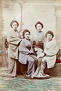 hand collored Geisha group portrait ca 1880s Japan