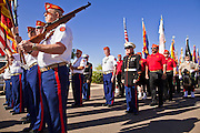 30 MAY 2011 - PHOENIX, AZ: Honor Guard units march during the Parade of Colors at Memorial Day services in the National Memorial Cemetery in Phoenix, AZ, Monday. Memorial Day was celebrated with services across the United States Monday.    Photo by Jack Kurtz