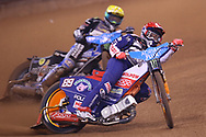 Emil Sayfutdinov leads the way during the 2019 Adrian Flux British FIM Speedway Grand Prix at the Principality Stadium, Cardiff, Wales on 21 September 2019.
