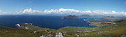 A panoramic view of  Valentia Island in County kerry, ireland from the Valentia Radio Station on left to Cahersiveen town on right. In the background are Innisvickaullane Island, The great Blasket islands and Valentia Lighthouse in foreground..Picture by Don MacMonagle