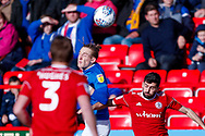 Portsmouth midfielder Ronan Curtis (11) wins the header  during the EFL Sky Bet League 1 match between Accrington Stanley and Portsmouth at the Fraser Eagle Stadium, Accrington, England on 27 October 2018.
