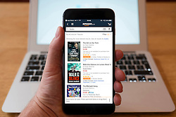Using iPhone smartphone to display Amazon online book store