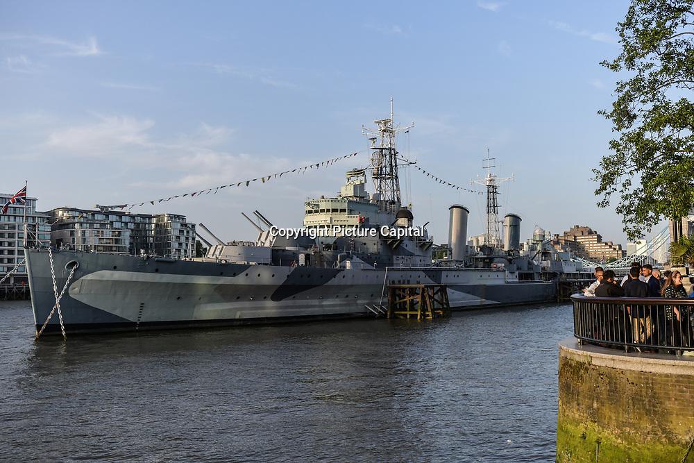 HMS Belfast at The Queen walk street Photography, on 28 June 2019, London, UK.