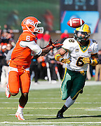 Sam Houston State Bearkats wide receiver Richard Sincere (6) grabs a long pass against North Dakota State Bison cornerback Andre' Martin Jr. (8) during the FCS title game at FC Dallas Stadium in Frisco, Texas, on January 5, 2013.  (Stan Olszewski/The Dallas Morning News)