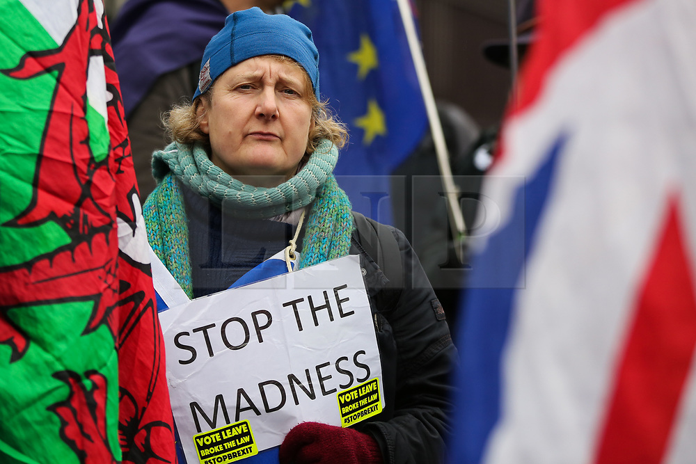 © Licensed to London News Pictures. 22/01/2020. London, UK. A Pro-European protester holds a sign 'STOP THE MADNESS' as anti-Brexit campaigners demonstrate outside Houses of Parliament with nine days to  Brexit Day. Photo credit: Dinendra Haria/LNP