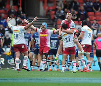 Rugby Union - 2020 / 2021 Gallagher Premiership - Semi-Final - Bristol Bears vs Harlequins - Ashton Gate<br /> <br /> Harlequins celebrates at the final whistle<br /> <br /> Credit : COLORSPORT/Andrew Cowie