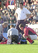 Leicester, Welford Road, Leicestershire, 30/09/2001, Player receiving medical attention, during the,  Heineken Cup, match, Leicester Tigers vs Llanelli, Heineken Cup,<br /> [Mandatory Credit: Peter Spurrier/Intersport Images],<br /> Leicester Tigers v Llanelli Euro Cup  <br /> 29/9/01
