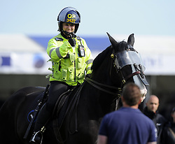 A Police officer puts her thumb up to a Bristol Rovers fan   - Photo mandatory by-line: Joe Meredith/JMP - Mobile: 07966 386802 03/05/2014 - SPORT - FOOTBALL - Bristol - Memorial Stadium - Bristol Rovers v Mansfield - Sky Bet League Two