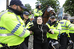 June 3, 2017 - Liverpool, Merseyside, UK - Liverpool , UK . Hundreds of police manage the two protests. Far-right street protest movement , the English Defence League ( EDL ) , hold a demonstration in Liverpool , opposed by anti-fascists , including Unite Against Fascism ( UAF  (Credit Image: © Joel Goodman/London News Pictures via ZUMA Wire)