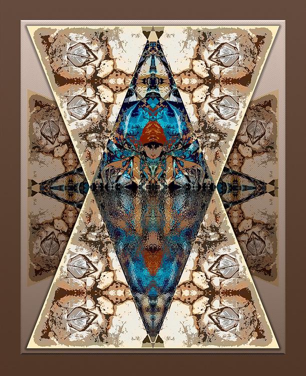 """Meditation Pool"", derivative image from a photo of barnacles on a marine bulkhead, overcast light, November, Port Angeles Harbor, Clallam County, Olympic Peninsula, Washington, USA"