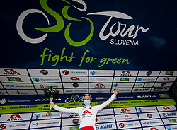 Winner in best young rider classification Kristijan HOCEVAR of ADRIA MOBIL celebrates at trophy ceremony after the 3rd Stage of 27th Tour of Slovenia 2021 cycling race between Brezice and Krsko (165,8 km), on June 11, 2021 in Slovenia. Photo by Vid Ponikvar / Sportida