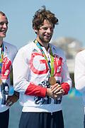 "Rio de Janeiro. BRAZIL. Tom RANSLEY.  GBR W8+ Silver Medalist, awards dock. 2016 Olympic Rowing Regatta. Lagoa Stadium,<br /> Copacabana,  ""Olympic Summer Games""<br /> Rodrigo de Freitas Lagoon, Lagoa.   Saturday  13/08/2016 <br /> <br /> [Mandatory Credit; Peter SPURRIER/Intersport Images]"