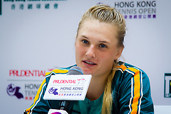 October 12, 2018 - Dayana Yastremska of the Ukraine talks to the media after winning her quarter-final match at the 2018 Prudential Hong Kong Tennis Open WTA International tennis tournament (Credit Image: © AFP7 via ZUMA Wire)