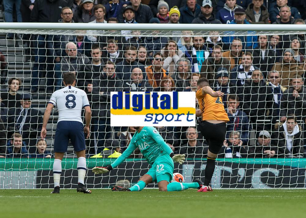 Football - 2019 / 2020 Premier League - Tottenham Hotspur vs. Wolverhampton Wanderers<br /> <br /> Matt Doherty (Wolverhampton Wanderers) scores from point blank range past (Tottenham FC) at The Tottenham Hotspur Stadium.<br /> <br /> COLORSPORT/DANIEL BEARHAM