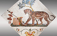 Roman mosaics from Pompeii showing a Panther with Dionysus symbol (Pantera con simboli dionisiaci) from the Santangelo collection, Naples Archaeological Museum, Italy .<br /> <br /> If you prefer to buy from our ALAMY PHOTO LIBRARY  Collection visit : https://www.alamy.com/portfolio/paul-williams-funkystock/roman-mosaic.html - Type -   Naples    - into the LOWER SEARCH WITHIN GALLERY box. Refine search by adding background colour, place, museum etc<br /> <br /> Visit our ROMAN MOSAIC PHOTO COLLECTIONS for more photos to download  as wall art prints https://funkystock.photoshelter.com/gallery-collection/Roman-Mosaics-Art-Pictures-Images/C0000LcfNel7FpLI