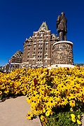 William C Van Horne statue and flowers at the Banff Springs Hotel, Banff National Park, Alberta, Canada