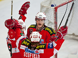 03.04.2011, Volksgarten Arena, Salzburg, AUT, EBEL, FINALE, EC RED BULL SALZBURG vs EC KAC, im Bild Torjubel KAC nach dem Führungstreffer zum 1 zu 2 durch Raphael Herburger, (EC KAC, #89) mit dabei, Stefan Geier, (EC KAC, #19) und Tyler Scofield, (EC KAC, #10)  // during the EBEL Eishockey Final, EC RED BULL SALZBURG vs EC KAC at the Volksgarten Arena, Salzburg, 04/03/2011, EXPA Pictures © 2011, PhotoCredit: EXPA/ J. Feichter