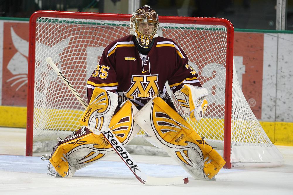 13 January 2012: Minnesota Golden Gophers goalie Kent Patterson (35) against North Dakota at Ralph Engelstad Arena in Grand Forks, ND. North Dakota defeated Minnesota 2-1.
