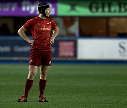 Munster's Tyler Bleyendaal<br /> <br /> Photographer Simon King/Replay Images<br /> <br /> Guinness PRO14 Round 15 - Cardiff Blues v Munster - Saturday 17th February 2018 - Cardiff Arms Park - Cardiff<br /> <br /> World Copyright © Replay Images . All rights reserved. info@replayimages.co.uk - http://replayimages.co.uk