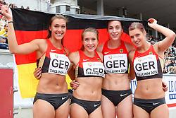 12.07.2015, Kadriorg Stadion, Tallinn, EST, U23 Leichtathletik EM, Tallinn, im Bild Anna-Lena Freese (GER), Rebekka Haase (GER), Alexandra Burghardt (GER) und Amelie-Sophie Lederer (GER) // Anna-Lena Freese (GER), Rebekka Haase (GER), Alexandra Burghardt (GER) and Amelie-Sophie Lederer (GER) gold medalist at the women??s 4x100m Relay U23 Championships at the Kadriorg Stadion in Tallinn, Estland on 2015/07/12. EXPA Pictures © 2015, PhotoCredit: EXPA/ Eibner-Pressefoto/ Fusswinkel<br /> <br /> *****ATTENTION - OUT of GER*****