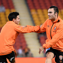 BRISBANE, AUSTRALIA - APRIL 21: Joe Caletti and Nicholas D'Agostino of the Roar warm up before the Hyundai A-League Elimination Final match between the Brisbane Roar and Western Sydney Wanderers at Suncorp Stadium on April 21, 2017 in Brisbane, Australia. (Photo by Patrick Kearney/Brisbane Roar)