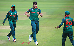 Bangladesh's Taskin Ahmed celebrates after taking the wicket of New Zealand's Ross Taylor during the ICC Champions Trophy, Group A match at Sophia Gardens, Cardiff.