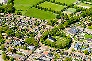 Nederland, Friesland, De Friese Meren, 07-05-2018; dorp Oudemirdum, esdorp gelegen in het Gaasterland. In de dorpskern de hervormde kerk De Fontein.<br /> Frisian village.<br /> luchtfoto (toeslag op standard tarieven);<br /> aerial photo (additional fee required);<br /> copyright foto/photo Siebe Swart