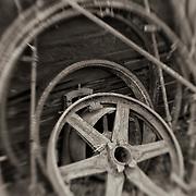 Rusted Wheels - Pottsville - Merlin, Oregon - Lensbaby - Sepia Black & White