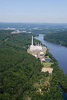 Aerial of oil fired power plant on Connecticut River downstream from Middletown, CT