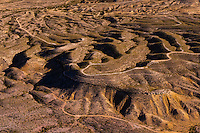 Aerial view of a road in the Chihuahuan Desert near Big Bend National Park, Texas USA.