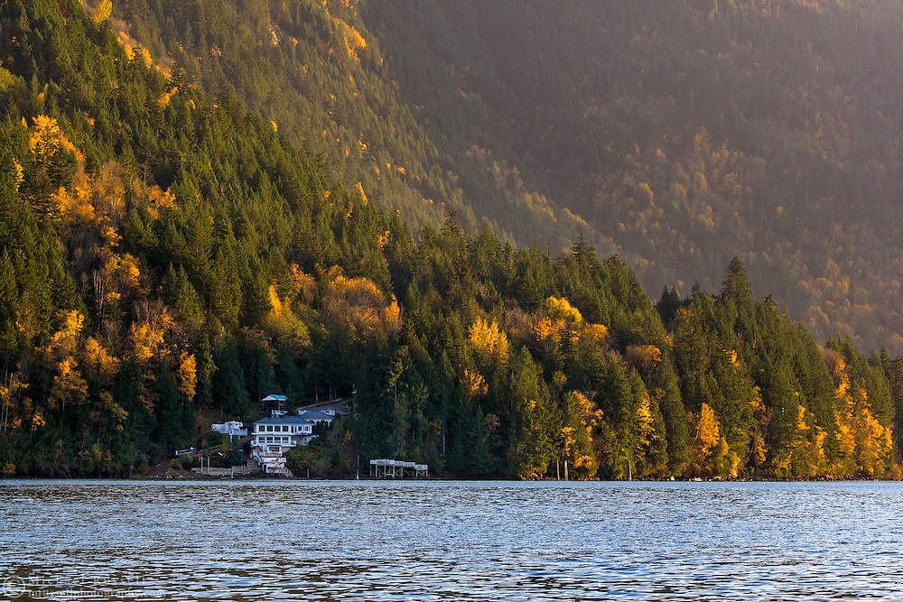 A large house on the shore of Harrison Lake near Harrison Hot Springs, British Columbia, Canada