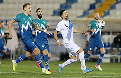 Jure Balkovec of Slovenia vs Tasos Bakasetas of Greece during football match between National teams of Greece and Slovenia in Final tournament of Group Stage of UEFA Nations League 2020, on November 18, 2020 in Georgios Kamaras Stadium, Athens, Greece. Photo by BIRNTACHAS DIMITRIS / INTIME SPORTS / SPORTIDA