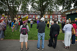 London, UK. 15th July, 2021. Anti-racist campaigners attend an event on Ducketts Common organised by Haringey Stand Up To Racism during which they took a knee in solidarity with England footballers Marcus Rashford, Jadon Sancho and Bukaya Saka. The three England footballers were subjected to racial abuse following England's Euro 2020 final defeat against Italy.