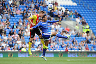 Birmingham captain Michael Morrison (l) heads clear from Cardiff City's Kenneth Zohore. Skybet football league championship match, Cardiff city v Birmingham city at the Cardiff city stadium in Cardiff, South Wales on Saturday 7th May 2016.<br /> pic by Carl Robertson, Andrew Orchard sports photography.