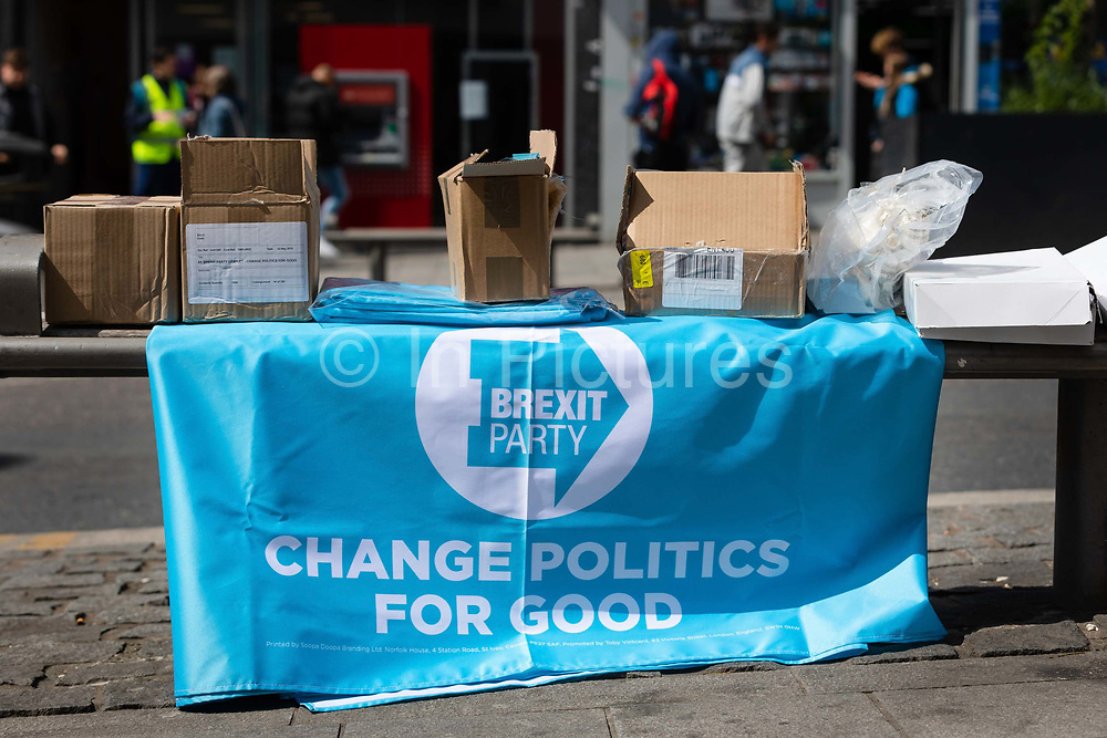 A Brexit Party banner for the upcoming European elections is seen on the street in Dagenham Heathway, London, England on May 04, 2019.  Britain must hold European elections on May 23 or leave the European Union with no deal on June 01 after Brexit was delayed until  October 31 2019 after Prime Minister, Theresa May failed to get her Brexit deal approved by Parliament.
