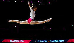 Bulgaria's Greta Banishka on the beam during day one of the 2018 European Championships at The SSE Hydro, Glasgow. PRESS ASSOCIATION Photo. Picture date: Thursday August 2, 2018. See PA story SPORT European. Photo credit should read: John Walton/PA Wire. RESTRICTIONS: Editorial use only, no commercial use without prior permission