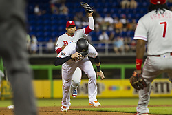 July 17, 2017 - USA - Marlins outfielder Christian Yelich gets caught in a rundown as the Miami Marlins play the Philadelphia Phillies at Marlins Park on Monday, July 17, 2017 in Miami. (Credit Image: © Bryan Cereijo/TNS via ZUMA Wire)