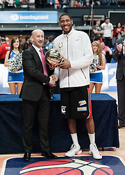 © Licensed to London News Pictures. 28/04/2013. London, UK. Andrew Sullivan (right) of The Leicester Riders and holds the British Basktball league cup after his team beat the Newcastle Eagles in the playoff final of the British Basketball League 2013. Sullivan is also the British team captain.  The Newcastle Eagles are defending their title having won it in 2012.  The British Basketball League (BBL), is the premier men's professional basketball league in the United Kingdom. The BBL runs two knockout competitions alongside the league Championship; the BBL Cup and the BBL Trophy, as well as the post-season Play-offs.  Photo credit : Richard Isaac/LNP