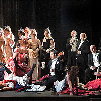 .Picture shows :.La traviata by Giuseppe Verdi.A NEW SCOTTISH OPERA AND WELSH NATIONAL CO-PRODUCTION. Picture © Drew Farrell Tel : 07721 ?735041..Scottish Director David McVicar and Tanya McCallin, the creative team behind Scottish Opera?s Der Rosenkavalier, offer an authentic take on one of the world?s most famous operas. Bohemian artists, showgirls, courtesans ? the rich and the wretched mix together within the shady underworld of the Parisian demi-monde..Carmen Giannattasio makes her Scottish Opera début playing the lead role of Violetta, Federico Lepre sings Alfredo, and Richard Zeller returns to Scottish Opera as Giorgio Germont. French conductor  Emmanuel Joel-Hornak returns for this production...Cast.Carmen Giannattasio  as Violetta Valéry.Federico Lepre as Alfredo Germont.Richard Zeller as Giorgio Germont.Katherine Allen as Flora Bervoix.Adrian Powter as Baron Douphol.Nicholas Ransley as Gastone.Paul Carey Jones as Marchese D?Obigny.Alan Fairs as Doctor Grenvil.Catriona Barr as  Annina..Conductors  Emmanuel Joel-Hornak and (Derek Clark Nov 13 & 15).Director David McVicar.DesignerTanya McCallin.ChoreographerAndrew George..THEATRE ROYAL GLASGOW Thu 30 Oct 7.15pm ? Sat 1 Nov 7.15pm ? Fri 6 Feb 7.15pm Sun 8 Feb 4pm ? Thu 12 Feb 7.15pm ? Sat 14 Feb 7.15pm La traviata Unwrapped - Thurs 5 Feb 6pm ..EDEN COURT, INVERNESS Thu 6 Nov 7.15pm ? Sat 8 Nov 7.15pm  La traviata Unwrapped ? Wed 5 Nov 6pm..HIS MAJESTY?S THEATRE, ABERDEEN Thu 13 Nov 7.30pm ? Sat 15 Nov 7.30pm  La traviata Unwrapped ? Wed 12 Nov 6pm ..FESTIVAL THEATRE EDINBURGH Wed 19 Nov 7.15pm ? Sun 23 Nov 4pm  Thu 27 Nov 7.15pm ? Sat 29 Nov 7.15pm  La traviata Unwrapped - Tues 25 Nov 6pm ..GRAND OPERA HOUSE, BELFAST Thu 26 Feb time tbc ? Sat 28 Feb La traviata Unwrapped ? Fri 27 Feb time tbc..Note to Editors: This image is free to be used editorially in the promotion of Scottish Opera and this production. Without prejudice ALL other licences without prior consent will be deemed a breach of copyright under the