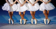 Dancers of the Saint-Petersburg State Ice Ballet of Russia perform in Swan Lake on Ice in Valletta January 10, 2009. .REUTERS/Darrin Zammit Lupi (MALTA)